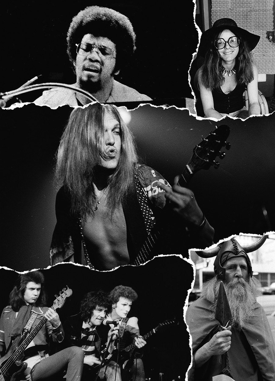 Photos by Saul Smaizys of Triad Radio, taken during the show's 1970s run. From top left: Herbie Hancock, Jenny Hahn of Babe Ruth (at the Triad House), Michael Schenker with UFO, the Sensational Alex Harvey Band, and Moondog. - SAUL SMAIZYS / COLLAGE BY RACHEL HAWLEY