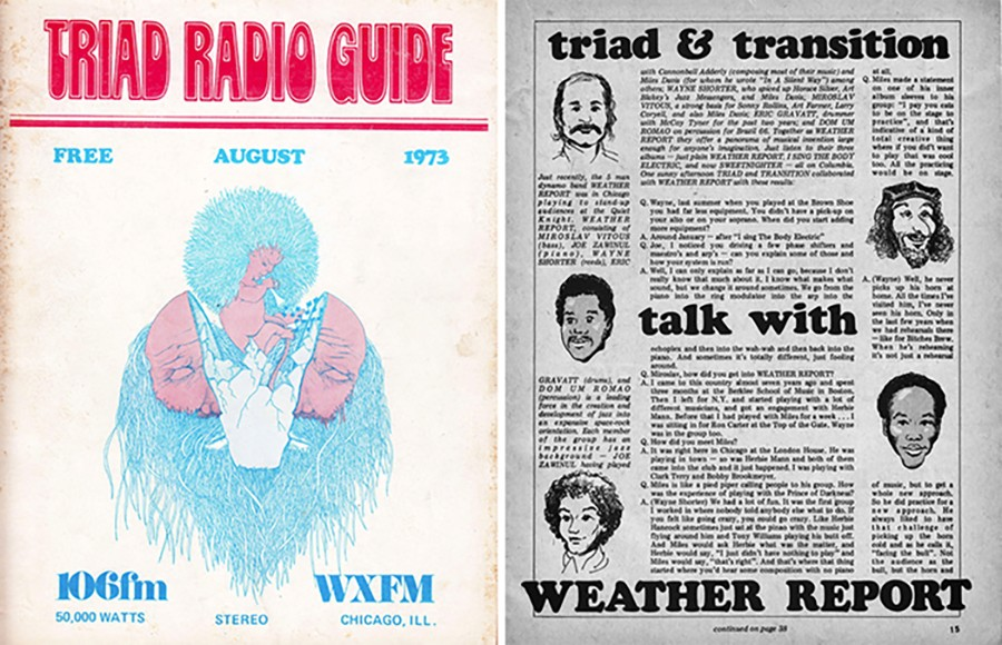 The August 1973 Triad radio guide included an interview with the members of Weather Report (Jaco Pastorius wouldn't join for another few years). - COURTESY SAUL SMAIZYS