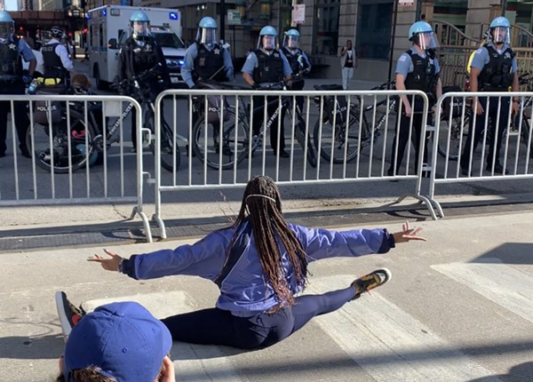 A dancer during the first weekend of the George Floyd protests downtown - KIERAH KING