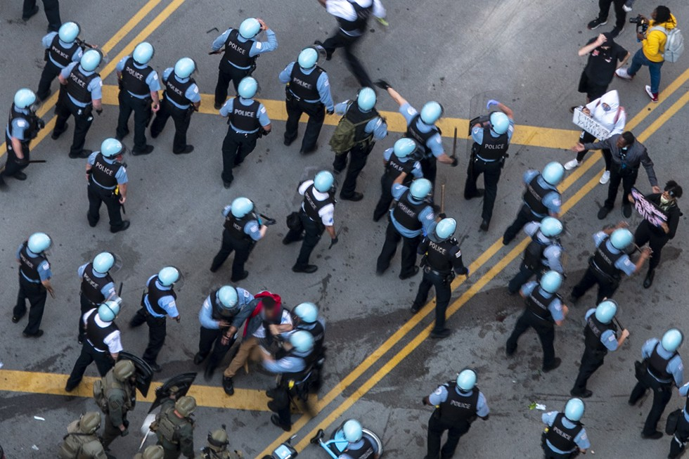 Police at a protest on State Street in downtown Chicago, May 30, 2020. - SAMANTHA BAILEY