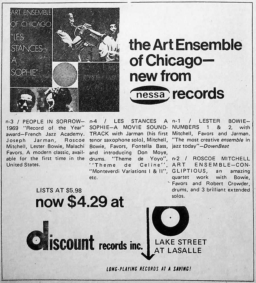 Discount Records plugged its Art Ensemble of Chicago offerings in the Reader on December 3, 1971.