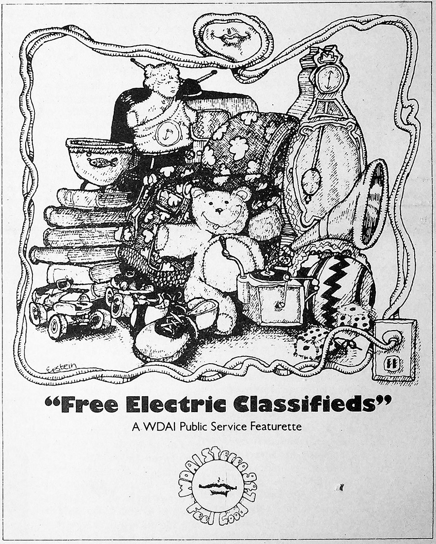 On October 8, 1971, WDAI sponsored the Reader's free classifieds.