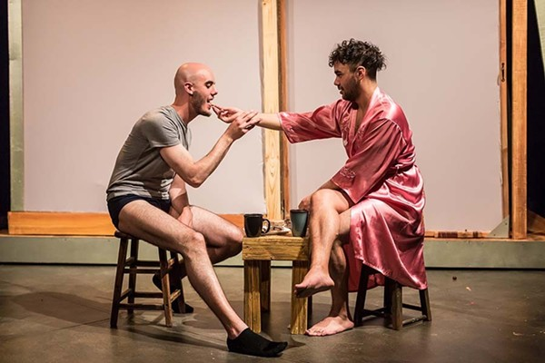 Scene from Pride Films and Plays' 2019 production Desire in a Tinier House, featuring intimacy direction by Gaby Labotka - ELIAS RIOS