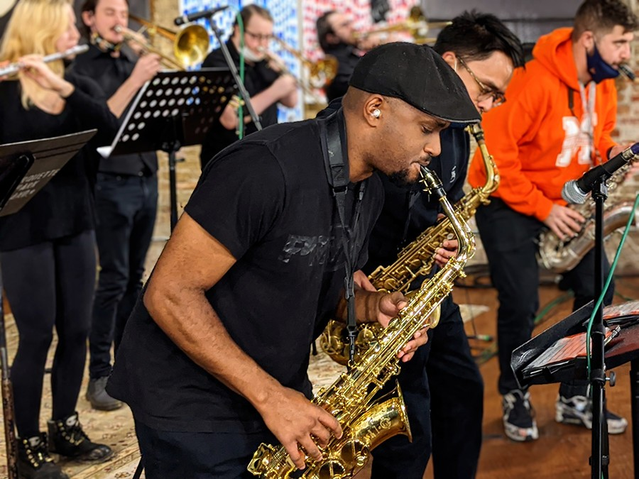 Alto saxophonist Luc Mosley and most of the rest of the horn section - RAVEN GEARY FOR CHICAGO READER