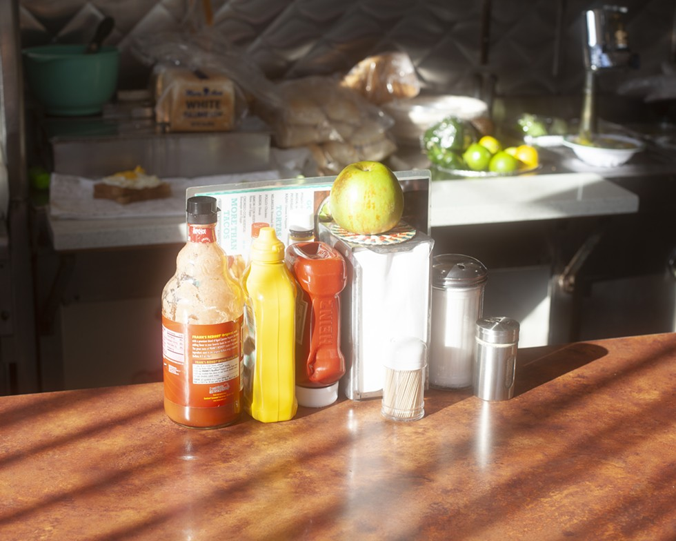 The condiments on the counter at Park View Diner have long gone unused during the pandemic. - SAMANTHA CABRERA FRIEND