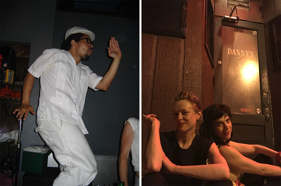 """Damon Locks of the Eternals and the Black Monument Ensemble at a Danny's """"white out party""""; Tanja Buhler and Jamie Hayes, who DJed the bar's Party Line nights - PHOTOS COURTESY DAMON LOCKS AND JAMIE HAYES"""