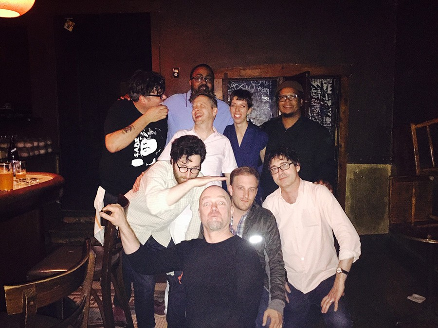 Danny's staffers and DJs: in back, Desmond Taylor (blue shirt); last row, Stephen Sowley, Courtland Green, Kate Ruggeri, and Jeff Parker; front row, Ross Winston, Hans Ballard (black shirt), Josh McCowan, and Kevin Stacy - COURTESY ROSS WINSTON