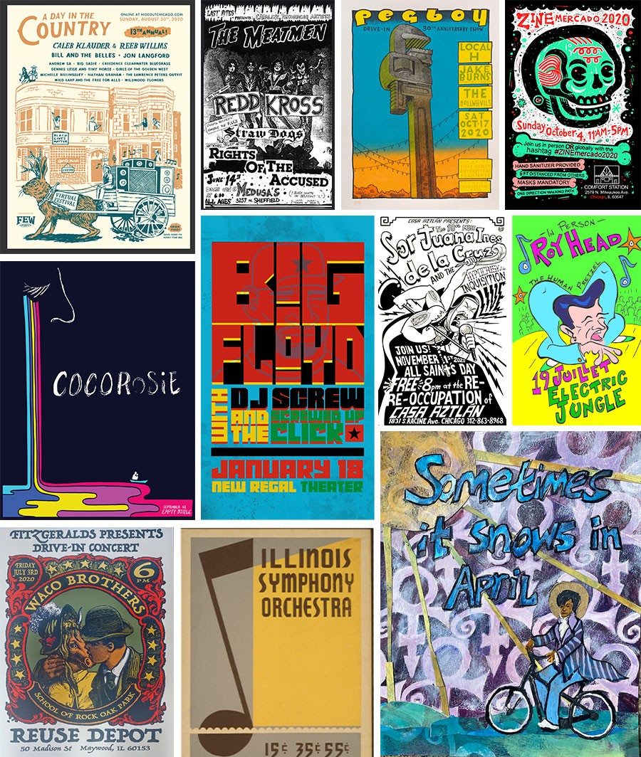 """Left to right from top left: Posters by Ryan Duggan, Rob Schwager, Jay Ryan, Chema Skandal, Heather Anderson, Tesh Silver, Eric J. Garcia, John Vernon Forbes, Steve Walters, Ralph Graham, and Andrea Hill Fitzgerald. Anderson, Silver, Garcia, Forbes, and Fitzgerald made """"fantasy"""" gig posters for shows they wish could happen; the others are for actual events."""