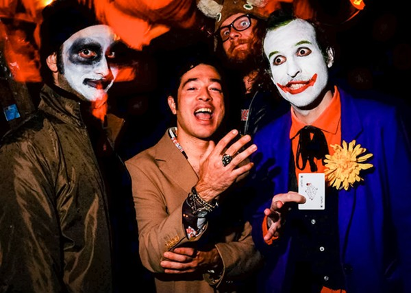 Matthew Hord, Alejandro Morales, and Jeffrey Tucholski of Running at Mortville's Halloween party in 2011 - ALISON GREEN