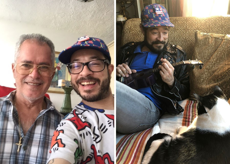 Alejandro Morales hangs with his dad and serenades a cat. - PHOTOS COURTESY PATTY STELL