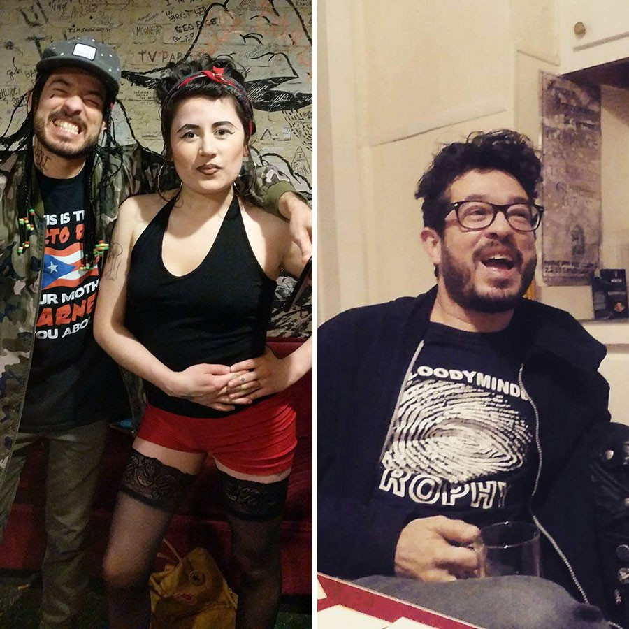 Alejandro and his friend Mariapaz Camargo cohosted the annual Chili-Synthesizer Cook-off at the Empty Bottle a couple years running. At left, they're in costume for the 2017 show; the photo on the right is from a scheming session for the 2016 cook-off. - PHOTOS COURTESY MARIAPAZ CAMARGO