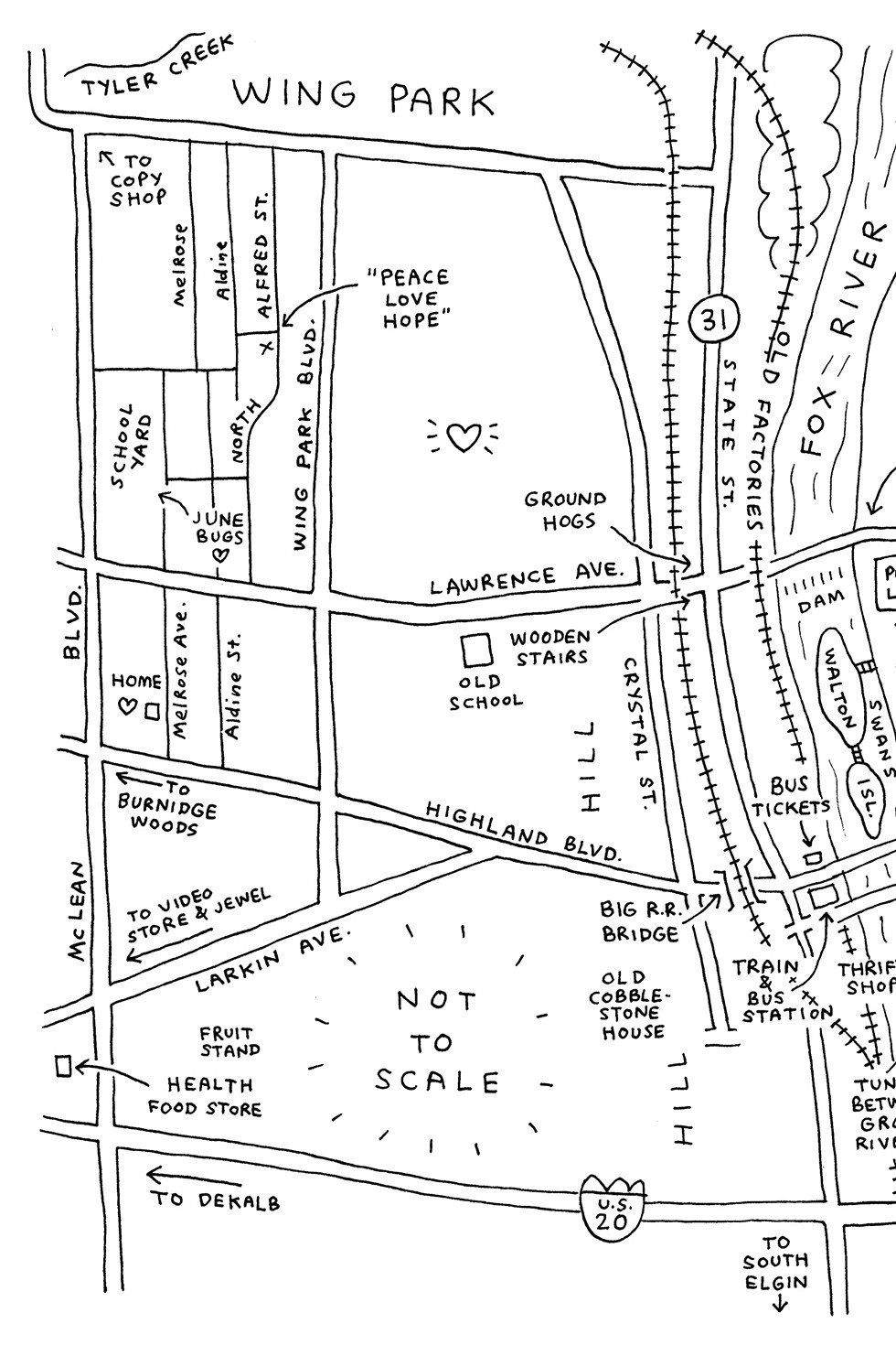 From Map of My Heart by John Porcellino - COURTESY DRAWN & QUARTERLY
