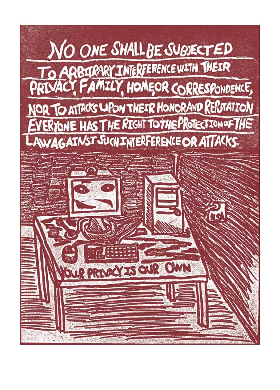 Alex Koehler's illustration of UDHR Article 12 as seen in Carving Out Rights - ALEX KOEHLER/COURTESY HAT & BEARD PRESS