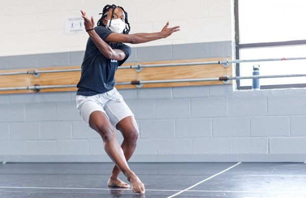 Simone Stevens in rehearsal for Mood Swing, one of the pieces in Cerqua Rivera's 2021 season. - FERNANDO RODRIGUEZ PHOTOGRAPHY