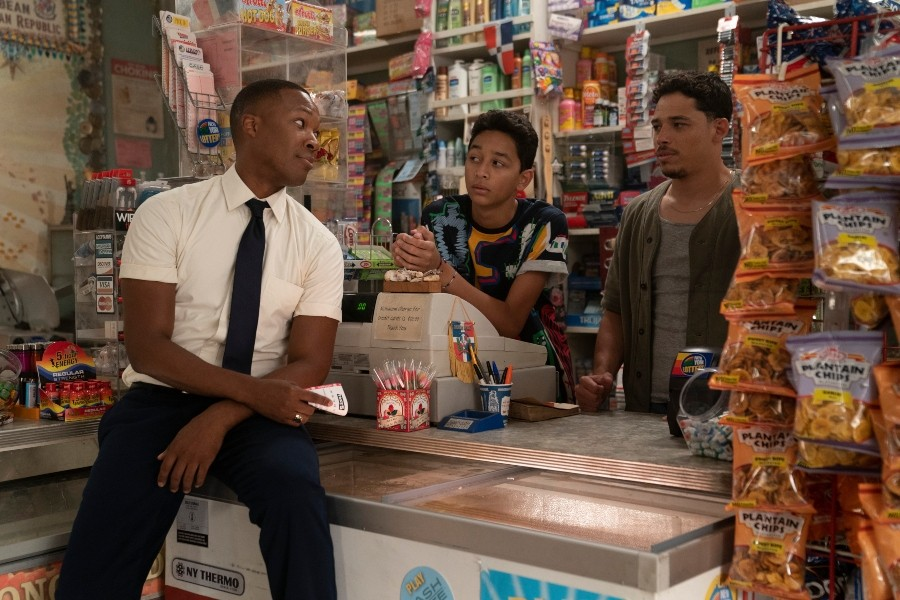 From left: Corey Hawkins as Benny, Gregory Diaz IV as Sonny, and Anthony Ramos as Usnavi in Warner Bros. Pictures' In the Heights, a Warner Bros. Pictures release - COPYRIGHT: © 2021 WARNER BROS. ENTERTAINMENT INC. ALL RIGHTS RESERVED.  PHOTO CREDIT: MACALL POLAY