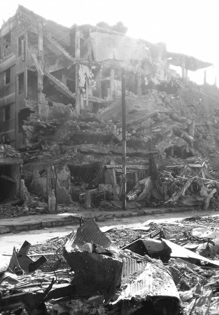 Samar's parents' house, bombed after the family left for  Aleppo - SAMAR