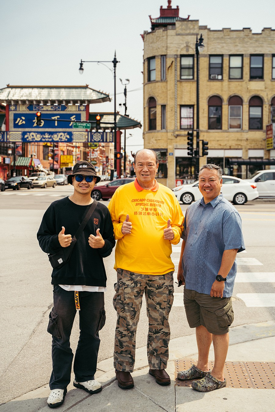 Shifa Zhong with Gene Lee and Darryl Tom, the president of the Chinatown Chamber of Commerce - YIJUN PAN FOR CHICAGO READER