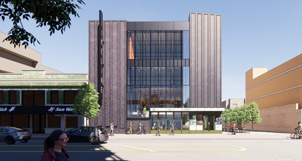 HGA design rendering showing future street exterior view of TimeLine's new Uptown home - COURTESY TIMELINE THEATRE