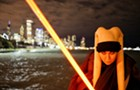 Fans celebrated Star Wars Day with a faux lightsaber battle in the South Loop