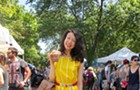 Banana inspires a burlesque performer's outfit at the Logan Square Farmers Market