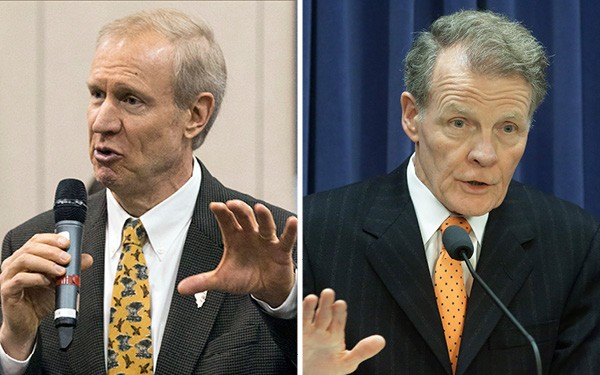Governor Bruce Rauner (left) wants to turn the state budget battle into a referendum on house speaker Michael Madigan (right).