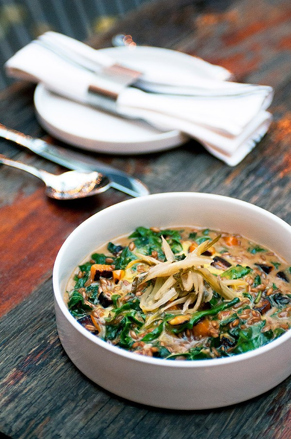 Swiss chard, squash, and nutty farro are deluged in an eggy miso sauce boosted with Parmesan.