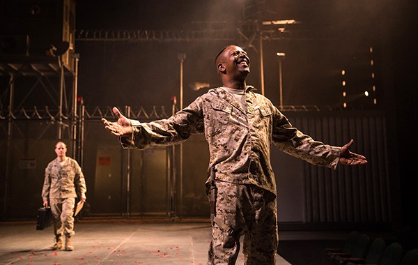 Michael Milligan (back left) as Iago and James Vincent Meredith as Othello