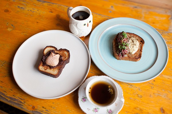 Clockwise from left: foie gras toast, coffee, toad in the hole, and mushroom tea at Bunny, the Micro Bakery
