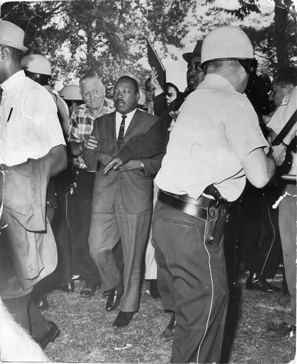 Martin Luther King Jr. in Marquette Park on August 5, 1966, before he was hit by debris thrown by the crowd