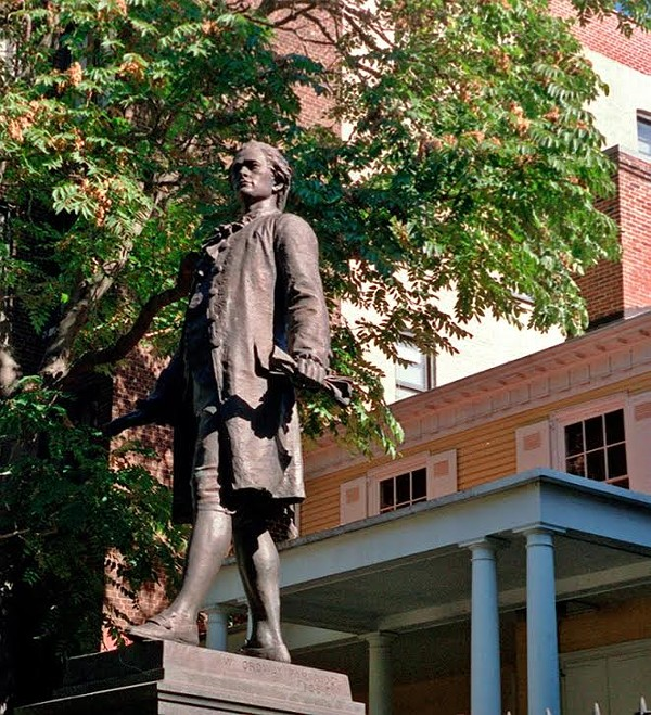 A statue of Alexander Hamilton stands in front of his New York City home, Hamilton Grange.