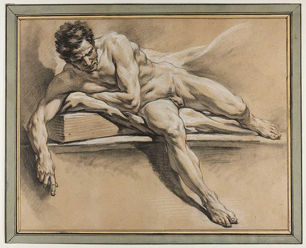 François Boucher, Academic Study of a Reclining Male Nude, about 1750