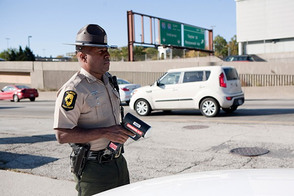 Illinois state trooper Chris Jones monitors southbound traffic on the Dan Ryan expressway.