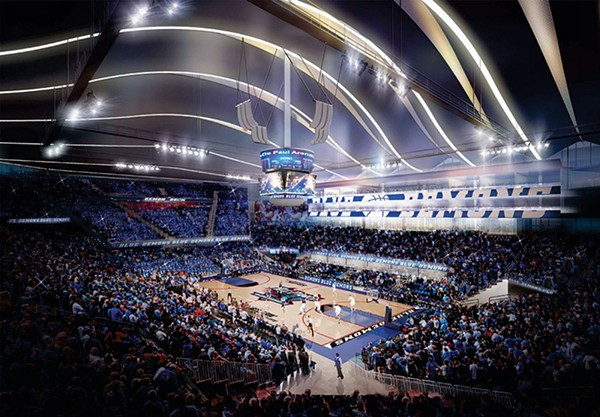A rendering of the planned 10,000-seat DePaul University basketball arena