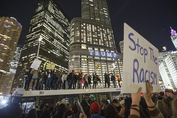 Protesters flanked Trump Tower the day after Donald Trump was elected.