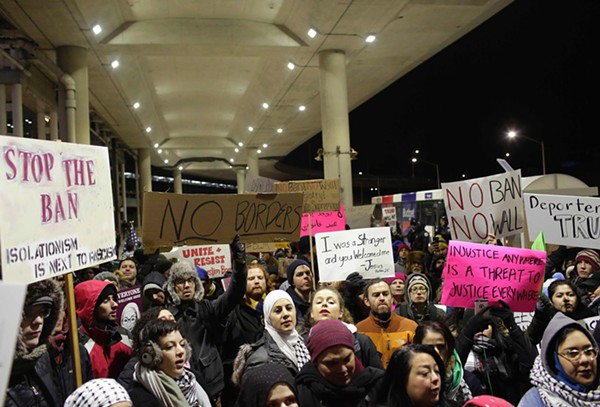 Demonstrators protested President Donald Trump's immigration ban at O'Hare International Airport on January 29.