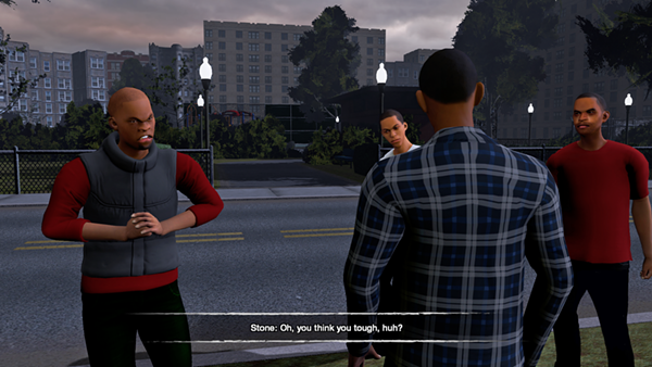 We Are Chicago protagonist Aaron Davis and a friend are confronted by gang members in virtual Englewood.