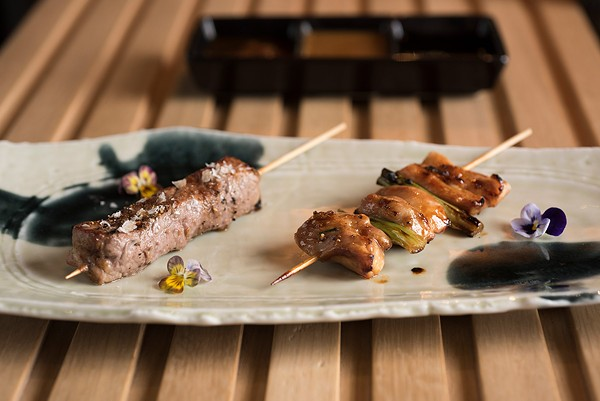 The items that come off the robata are generally well executed. Small portions of minimally accented proteins glisten and sizzle in their fats.