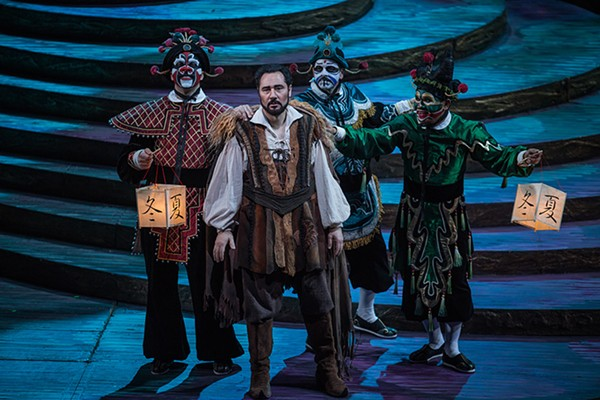 Zachary Nelson, Stefano La Colla, Keith Jameson, and Rodell Rosel in the Lyric's current production of Puccini's Turandot