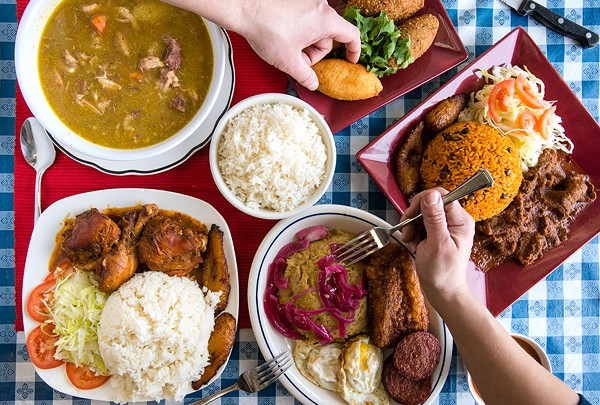 Clockwise from top left: sancocho; kipe and yuca bollitos; beef stew with Moros y Cristianos; Los Tres Golpes (the Three Strikes) with mangú; pollo guisado with white rice and maduros