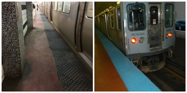 The Blue Line stop Washington currently (left) and in 2006 (right)
