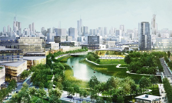 An artistic rendering of Sterling Bay's plans for Lincoln Yards.