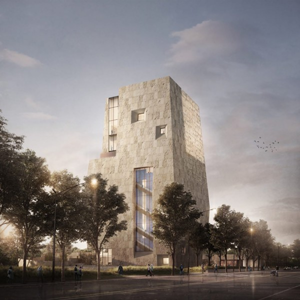 A rendering of the view of the Obama Center from Stony Island Avenue