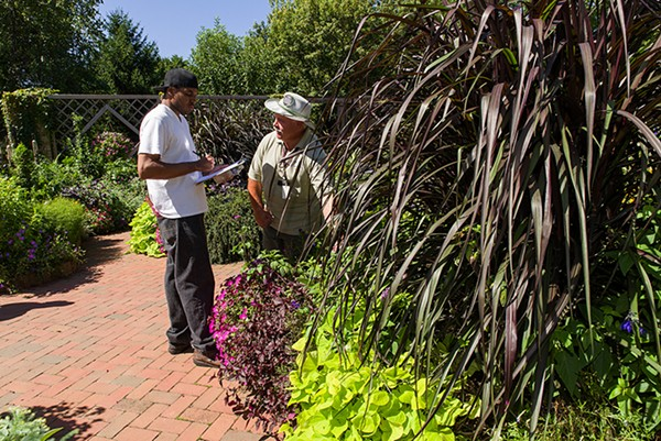 Veterans work in the Buehler Enabling Garden at the Chicago Botanic Garden