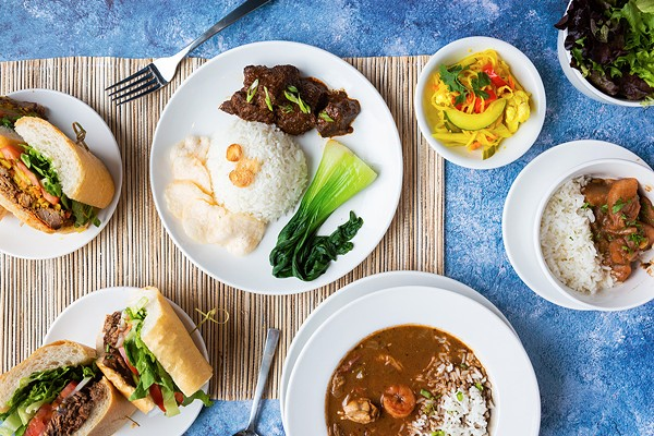 Clockwise from top center: beef rendang with braised bok choy, rice, and kerapuk (tempeh-and-shrimp chips); acar kuning (yellow pickle); turnip etouffee with white rice; gumbo; roast beef po'boy; pork rendang po'boy