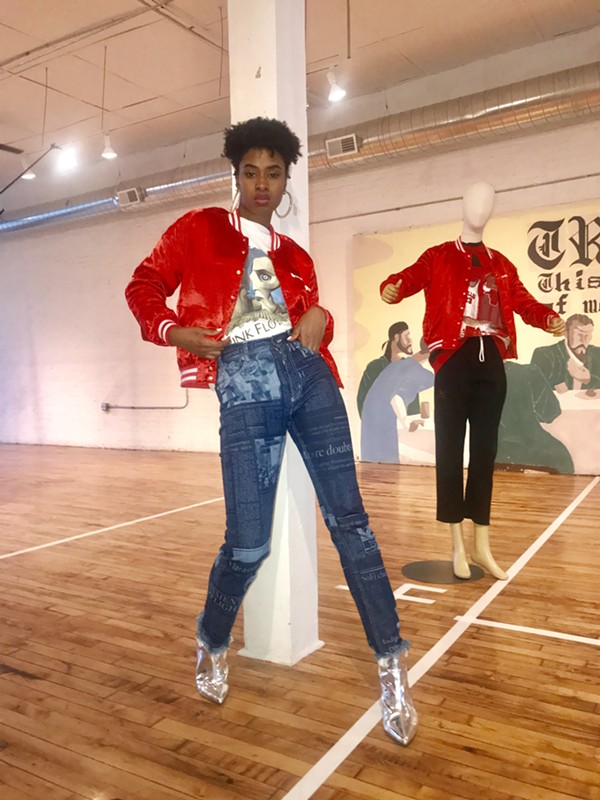 Emoni Brown models a jacket by Hundreds Only, vintage top by Little High, Little Low, and pants by Denimcratic. (Styling by Amanda Harth.)