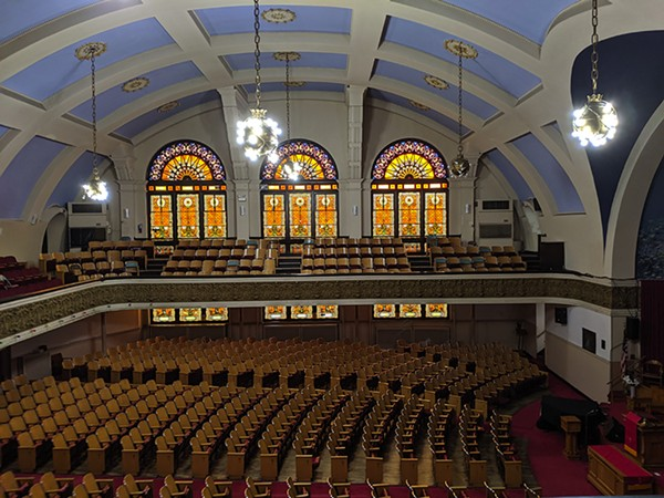 The sanctuary at Ebenezer Missionary Baptist Church, at 45th and Vincennes