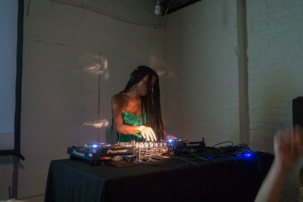 Juliana Huxtable performing in 2016