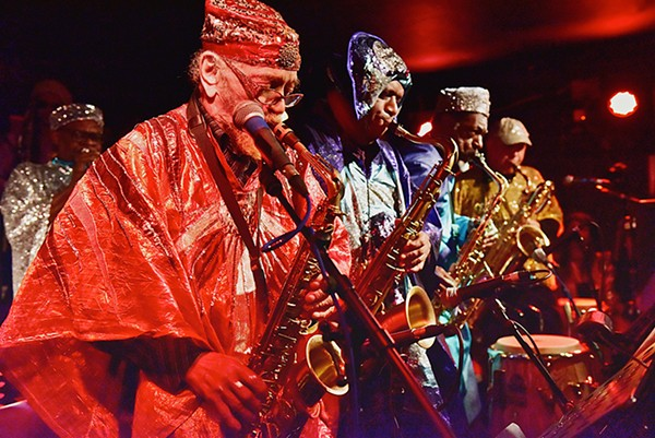 The Sun Ra Arkestra's horn section, including leader Marshall Allen (foreground).