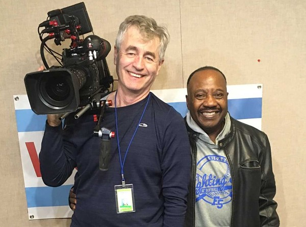 Steve James and Rickey Hendon in November 2018 during a taping of yours truly's show