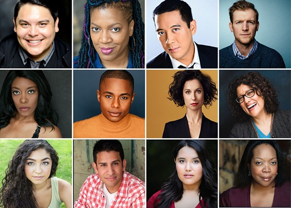 The cast and creative team of Wally World: (top row, from left), playwright/codirector Isaac Gómez, codirector Lili-Anne Brown, Danny Bernardo, Cliff Chamberlain; (second row, from left), Sydney Charles, Kevin Curtis, Audrey Francis, Sandra Marquez; (third row, from left), Leslie Sophia Perez, Marvin Quijada, Karen Rodriguez, and Jacqueline Williams.